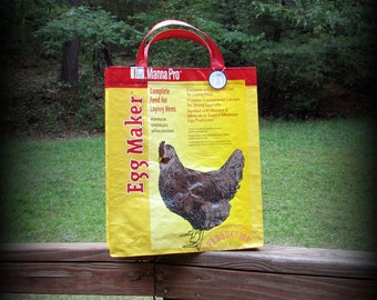 Chicken Feed Tote, Chicken Bag, Feed Sack Bag, Red and Yellow, Recycled Feed Bag, Feedsack Tote, Grocery Bag, Feedsack Bag, Grain Bag, Upcyc