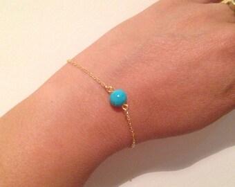 Turquoise Floating Bracelet  -  Minimalist, Feminine, Bridesmaid Gift, Beach Theme Gift, Christmas Gift