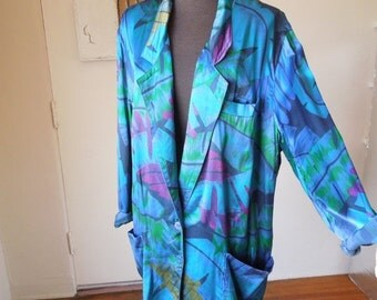 MOVING SALE Vintage 80's Slouchy Blazer, Bright Blue and Green Tropical Print, Oversize Boyfriend Style, Long, Medium