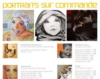 Commande de portraits (personnes ou animaux)