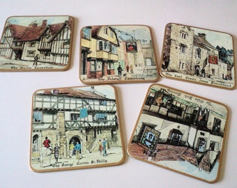 5 Vintage Old English Inns Coasters Trivets Wall Hangings Made in England