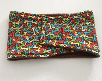 Belly Band - Male Dog Diaper - Belly Wrap - Brown with Multi Colored Bones - Available in all Sizes