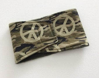Dog Diaper - Male Dog Belly Band - Belly Wrap - Camo Peace Signs - Available in all Sizes