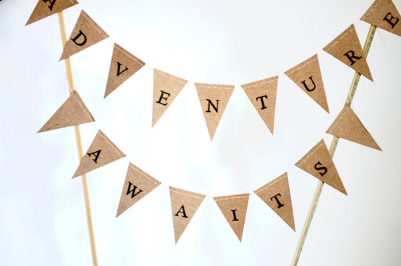 ADVENTURE AWAITS Hand Stamped Cake Topper Garland, mini paper bunting - custom colors available