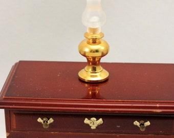 Miniature Brass Lamp Hurricane Dollhouse Colonial Decor