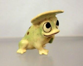 Miniature Whimsical Frog Figurine Terrarium Miniature Garden Porcelain