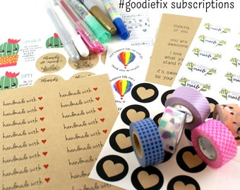 2 month #GOODIEFIX subscription - monthly subscription of stickers, washi tape, pen or marker - sampler bundle