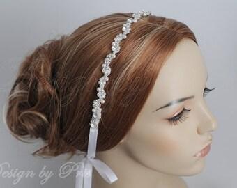 HPH3 - Bridal Rhinestone with Swarovski Pearls Ribbon Headpiece - Bridal.Hairpiece.Accessories