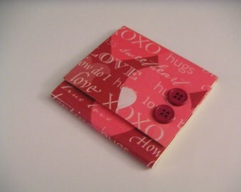 Pink and Red Love Themed Sticky Notes Pad with Two Dark Pink Buttons