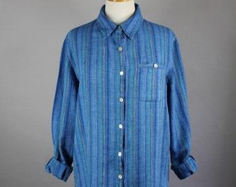 Vintage 90s Women's Ocean Blue Linen Stripes Long Sleeved Button Down Artist Work Shirt // Spring Summer Shirt