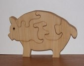 Child's Puzzle - Wooden Pig Puzzle for Child's Decor and Play - Toy