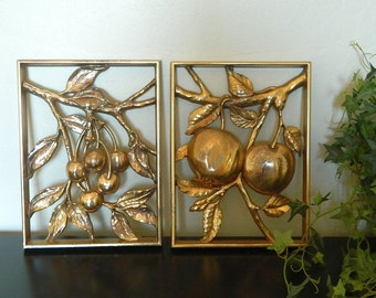 Syroco Gold Fruit Wall Plaques