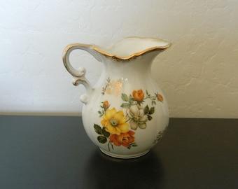 Small Pitcher - Vase - Large Creamer - Floral Spray Design