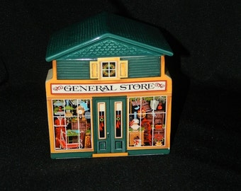 Vintage Avon Christmas Canister - Cookie Jar - McConnell's Corners General Store - 1982