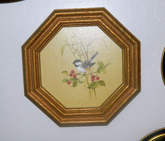 Chickadee Framed Print Homco Home Interiors 1982