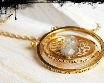 Hermione's Inspired time turner in gold finish and twisting hourglass,  Harry Potter Inspired Necklace