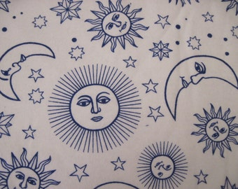 Blue and White Celestial Print Flannel by Blank Textiles 1 yd.