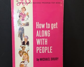 How to Get Along with People, The Amy Vanderbilt Success Program for Women Booklet, 1964, Great Retro Illustrations, Pink Color Cover