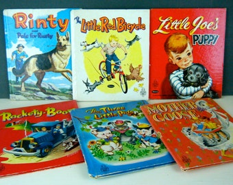 Whitman Tell-A-Tale Books, 1950's, You Choose a Title, Stories for Preschoolers, Stories for Boys, Bright Illustrations, Dogs, Trucks, Bikes