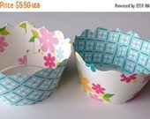 CLOSEOUT SALE Pretty Flowers and Blue Checker Cupcake wrappers SET of 12