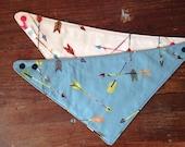 Arrow Scarf Bandanna Bib, Pink Blue Arrows, Grey Red Mustard Gold Aqua, Reversible Baby Bib, Teething Drool Bib, Matching Gift Sets