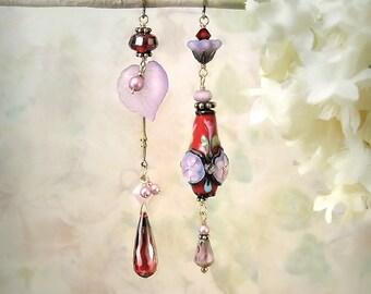 In the Garden - Red Flower Earrings Purple Earrings Pretty Flower Earrings Romantic Red Earrings Summer Wedding Garden Wedding Indie Jewelry