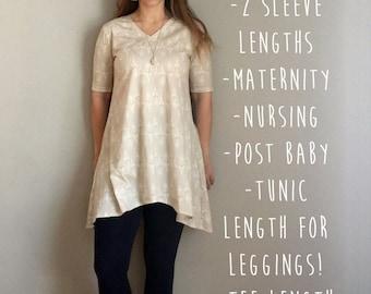 Everyway Tee & Tunic Sewing Pattern for Women, Maternity, Nursing Shirt, Tunic, PDF