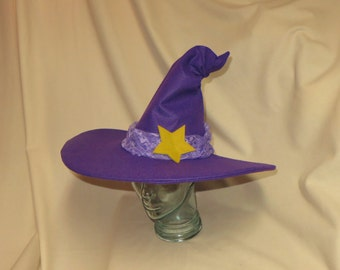 Bubble Witch Hat- Purple Felt Witch Hat with Golden Star