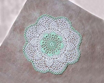 Crochet Lace Doily, Mint Green, White, Pineapple Centerpiece, Table Topper, Cottage Chic Home Decor