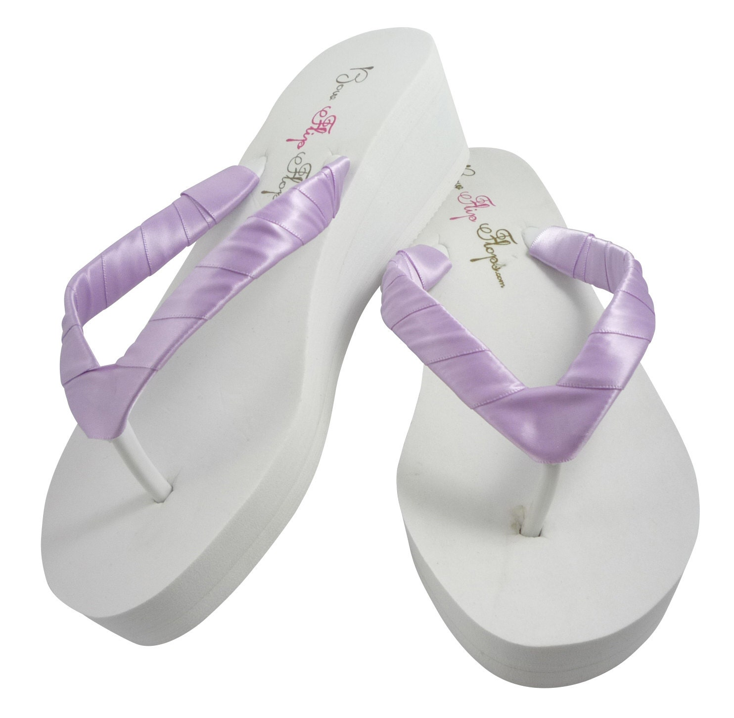 Wedge Flip Flops Ivory White Orchid Purple Many Colors-6448
