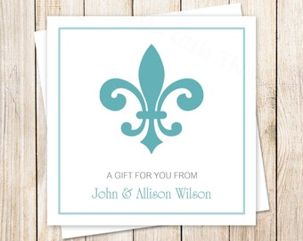 PRINTABLE fleur de lis gift tags . fleur de lis favor tags . gift tags . personalized stickers . choose color
