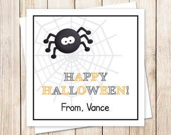 PRINTABLE halloween favor tags, stickers . black spider . personalized . spider web . gift tags . You Print
