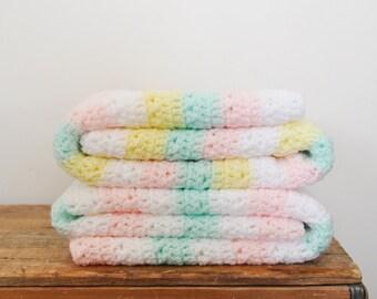Vintage Pair of Baby Afghans Lot of 2 Unisex Pastel Stripes Handmade Blanket Afghan Neutral Colors
