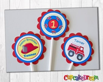 Firetruck Birthday Cupcake Toppers, Set of 12