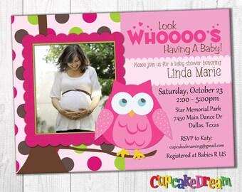 Girl Baby Shower Invitation, Owl Baby Shower
