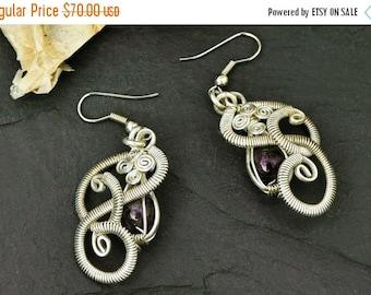ON SALE Sterling Silver Earrings,  Amethyst Earrings, Dangle Earrings,  Wire Wrap Earrings, Purple Stone Earrings, Gemstone Earrings