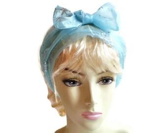 Blue Silver Snowflake Head Wrap, Holiday Head Wrap, Holiday Head Scarf, Party Headband, Light Blue Winter Head Wrap