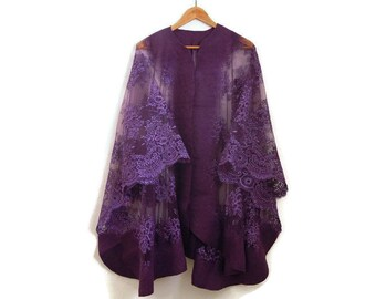 purple felted lace poncho