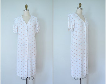 1980s little sweet one floral dress // white and pink button up dress //