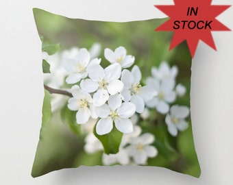"""Spring Pillow Cover, 18"""" Green and White Floral Home Decor Cushion, Interior Design, Floral Photography, Peridot Botanical Art Decor"""