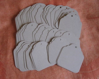 50 Large Scalloped Tags, Scalloped Cardboard Tags, Eco Friendly Tags, Price Tags, Craft Tags, Jewelry Tags, Hang Tags, Scalloped Tags