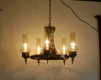 1970's bronze tone, Spanish Revival Touches, 3 Way Trumpet Center Chandelier, surrounded by a Ring w/ 5 arms w/ 5 Golden Iridescent Chimneys