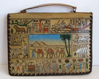 Vintage Egyptian Tooled Leather Attache Case Satchel Purse Bag