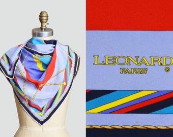Vintage 80s 90s Square LEONARD PARIS Nautical Stripe Silk Scarf