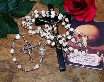 "Unbreakable Historical Replica ""Memento Mori"" Five-Decade Skull Bead Catholic Rosary"