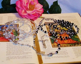 Stunning Lasso Wedding Rosary - His and Hers Combined Genuine Swarovski Crystal - Double Catholic Wedding Rosary