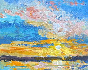 Original Impressionist Landscape Painting - Sunset Sunrise oil Painting, palette knife painting 4x4 miniature art, impasto paint artbymarion