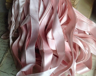 Old French Satin Tape. Pink Ribbon / Vintage Trim. 10 yards / Millinery Ballet Dolls Sewing Supplies. Old New Stock!