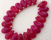 Brand New, 5 Matched Pairs, 15x7mm Long aprx.,RUBY RED Chalcedony Smooth Pear Briolettes,Amazing Item at Low Price