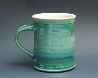 Pottery coffee mug, ceramic mug, porcelain tea cup jade green 16 oz 3476